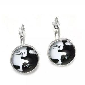 Yin Yang cat earrings